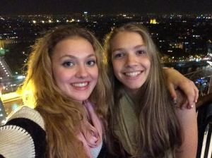 this is my best friend and me on the eiffel tower. it only took us three hours to get to paris.